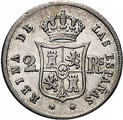 Large Reverse for 2 Reales 1859 coin