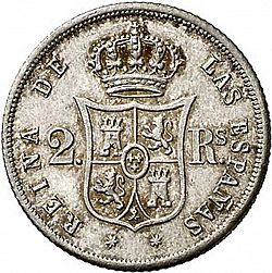 Large Reverse for 2 Reales 1864 coin