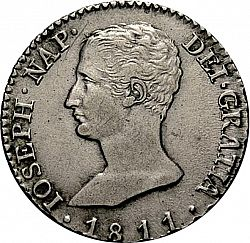 Large Obverse for 2 Reales 1811 coin