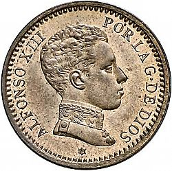 Large Obverse for 2 Céntimos 1904 coin