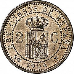 Large Reverse for 2 Céntimos 1904 coin
