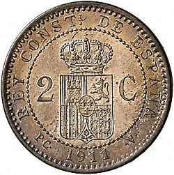Large Reverse for 2 Céntimos 1911 coin