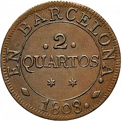 Large Reverse for 2 Cuartos 1808 coin