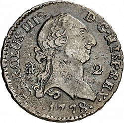 Large Obverse for 2 Maravedies 1778 coin