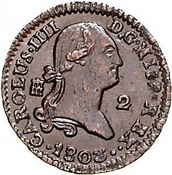 Large Obverse for 2 Maravedies 1802 coin