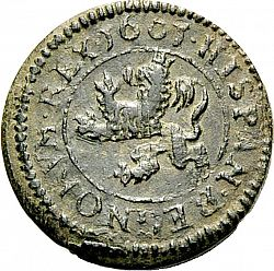 Large Reverse for 2 Maravedies 1601 coin