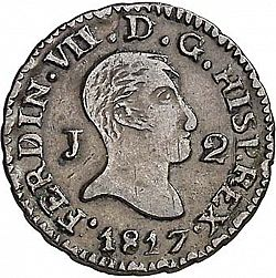 Large Obverse for 2 Maravedies 1817 coin