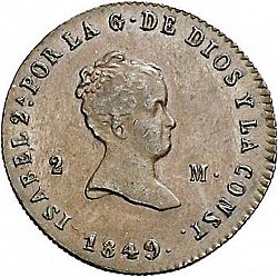 Large Obverse for 2 Maravedies 1849 coin