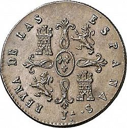 Large Reverse for 2 Maravedies 1849 coin