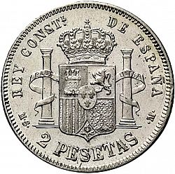 Large Reverse for 2 Pesetas 1881 coin