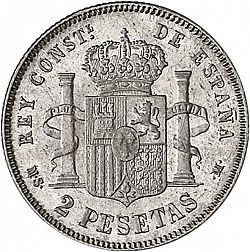 Large Reverse for 2 Pesetas 1883 coin