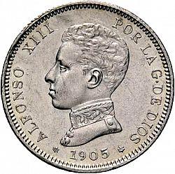 Large Obverse for 2 Pesetas 1905 coin