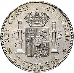 Large Reverse for 2 Pesetas 1905 coin