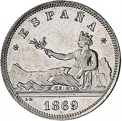 Large Obverse for 2 Pesetas 1869 coin