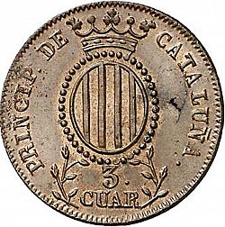 Large Reverse for 3 Cuartos 1841 coin