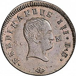 Large Obverse for 3 Maravedies 1830 coin