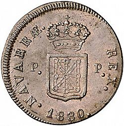 Large Reverse for 3 Maravedies 1830 coin