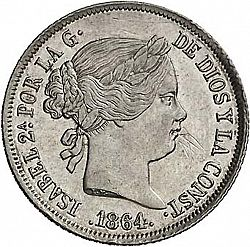 Large Obverse for 40 Céntimos Escudo 1864 coin