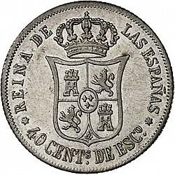 Large Reverse for 40 Céntimos Escudo 1864 coin
