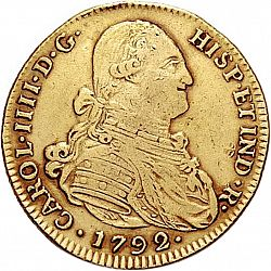 Large Obverse for 4 Escudos 1792 coin