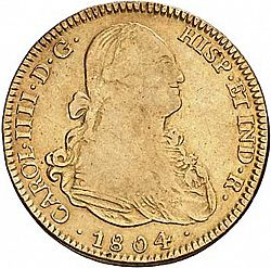Large Obverse for 4 Escudos 1804 coin