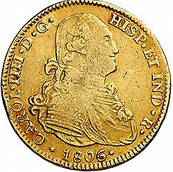 Large Obverse for 4 Escudos 1806 coin