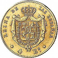 Large Reverse for 4 Escudos 1865 coin