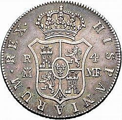 Large Reverse for 4 Reales 1791 coin
