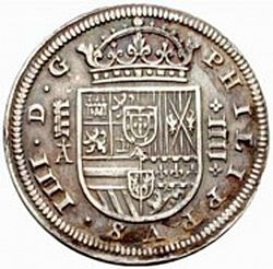 Large Obverse for 4 Reales 1621 coin
