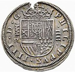 Large Obverse for 4 Reales 1633 coin