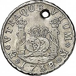 Large Reverse for 4 Reales 1738 coin