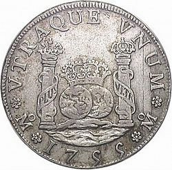 Large Reverse for 4 Reales 1755 coin
