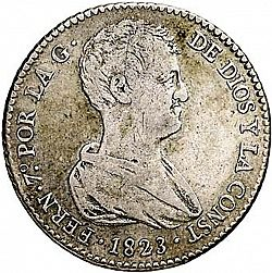 Large Obverse for 4 Reales 1823 coin