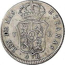 Large Reverse for 4 Reales 1823 coin