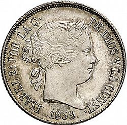 Large Obverse for 4 Reales 1859 coin