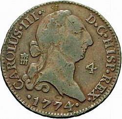 Large Obverse for 4 Maravedies 1774 coin