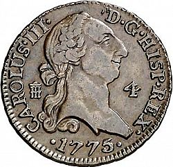 Large Obverse for 4 Maravedies 1775 coin