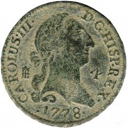 Large Obverse for 4 Maravedies 1778 coin