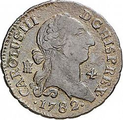Large Obverse for 4 Maravedies 1782 coin