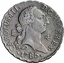 Large Obverse for 4 Maravedies 1785 coin