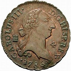 Large Obverse for 4 Maravedies 1786 coin