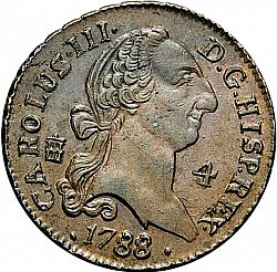 Large Obverse for 4 Maravedies 1788 coin
