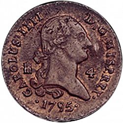 Large Obverse for 4 Maravedies 1795 coin