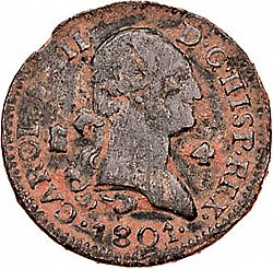 Large Obverse for 4 Maravedies 1801 coin