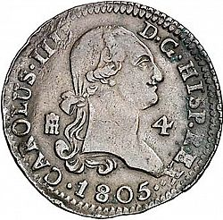 Large Obverse for 4 Maravedies 1805 coin