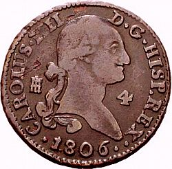 Large Obverse for 4 Maravedies 1806 coin