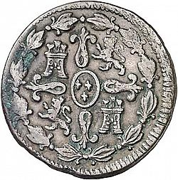 Large Reverse for 4 Maravedies 1805 coin