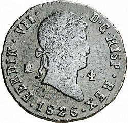 Large Obverse for 4 Maravedies 1826 coin