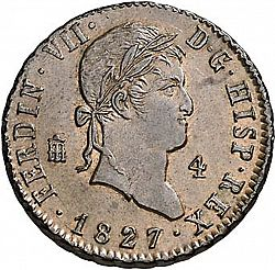 Large Obverse for 4 Maravedies 1827 coin