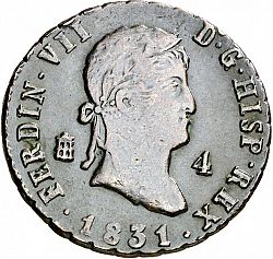 Large Obverse for 4 Maravedies 1831 coin